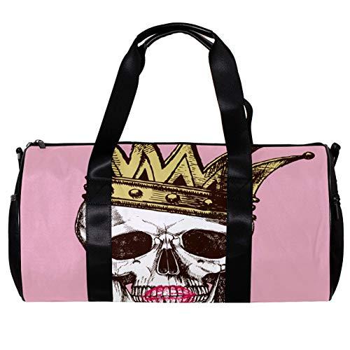 Runde Sporttasche mit abnehmbarem Schultergurt King of Death Skull mit Krone und Lippenstift, Trainingshandtasche für Damen und Herren