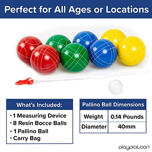 Play Platoon Bocce Ball Set with 8 Premium Resin Bocce Balls, Pallino, Carry Bag & Rope