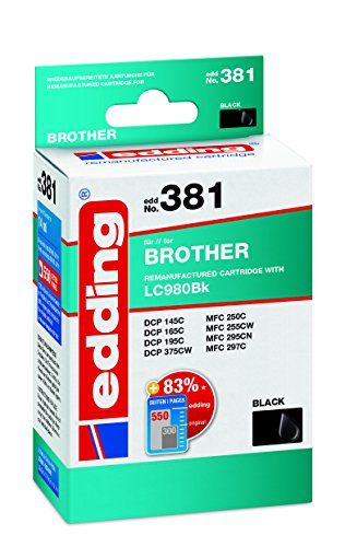 edding Tintenpatrone EDD-381 ersetzt Brother LC980BK - Schwarz - 14ml