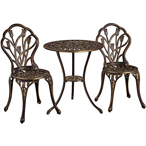 Yaheetech 3 Piece Aluminum Bistro Set 2 Seats Patio Dining Chairs and Table Garden Furniture Set, Bronze, for Yard, Balcony, Lawn