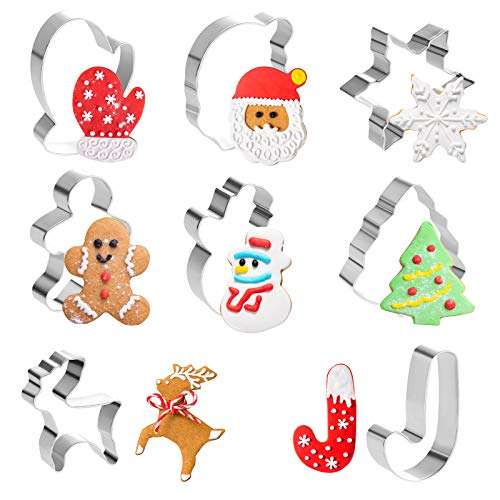 GWHOLE 8 Pieces Christmas Cookie Cutter Set - Snowflake,Santa Claus,Gingerbread Holiday Cookie Cutters for Xmas Winter Holiday Party