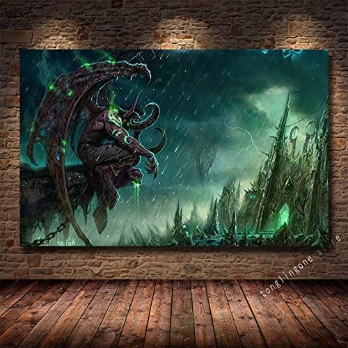 LGYJAL Pinturas en Lienzo Impresiones Póster Artístico Teldrassil Burning World of Warcraft Battle For Azeroth Juego Cuadros de Pared Decoración del hogar 50x70 cm U-1205