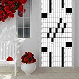 Self Adhesive Decorative Waterproof Door Sticker, A Blank Newspaper Style Crossword Puzzle with Numbers in, DIY Art Home Decor Poster Decoration 15 x 78.7 Inch