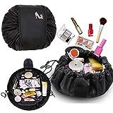 Kosmetiktasche, Moceal Schminktasche, One-Step Organizer MakeUp Tasche Kosmetikbeutel für Lazy Damen (Schwarz + Anhänger) (Schwarz)
