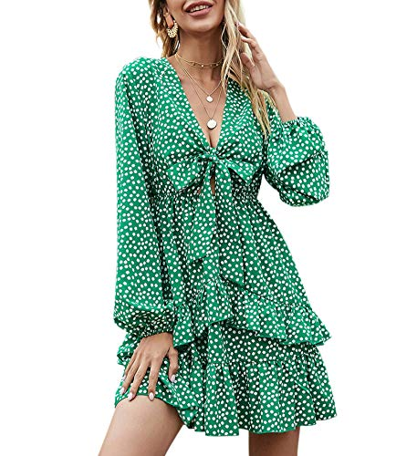 GOROLDA Women's Dress 2021 New Sexy V Neck Long Sleeve Ruffle Floral Dress High Waist Short Mini Dress
