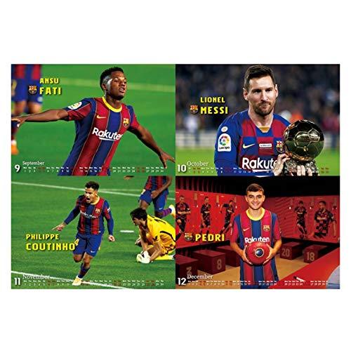JJH Calendario de fútbol para Hombres 2021-2022, Regalo Ideal de año Nuevo para fanáticos de fútbol, calendarios de Escritorio 2021 Meses, 21 x 17 cm
