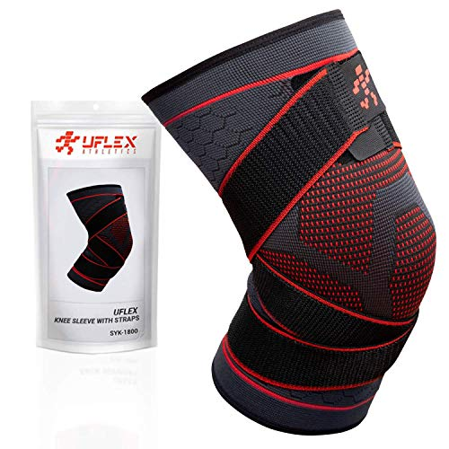 Knee Compression Brace for Men and Women - Non Slip Sleeve with Straps for Pain Relief, Meniscus Tear, Sports Safety in Basketball, Tennis - Single Wrap (Large)