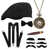 HOWAF Gángster Disfraz años 20 Hombre Accesorios, Conjunto de Gran Gatsby Accesorios Incluye Gorro de Panamá, Bigote, Tirantes Hombre elásticas, Pajarita para Hombre y Reloj de Bolsillo Vintage