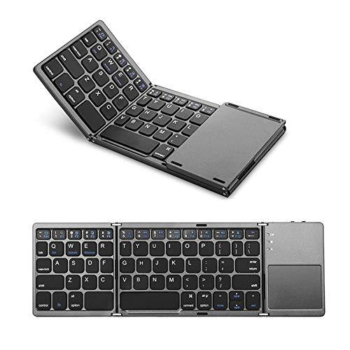 Ewin 折りたたみ式 Bluetoothキーボード タッチパッド搭載 超薄い型 ミニキーボードWindows、Android、iOS 、Mac、各OSに対応 ブラック EW-RW21【日本語説明書と18ヶ月保証付き】