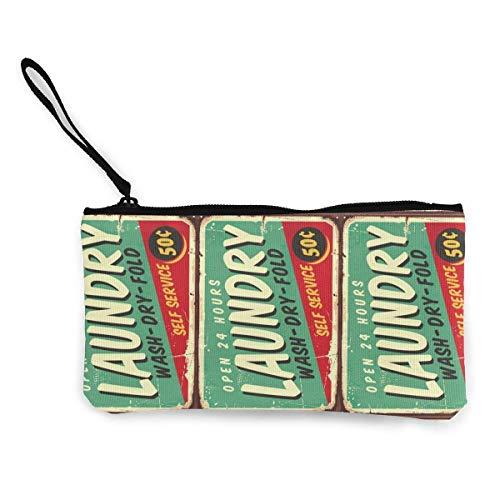 BHGYT Wäscherei 50er Jahre Comic-Stil Retro-Zeichen Frauen und Mädchen Persönlichkeit Mode Retro kleine Mini quadratische Reißverschluss Münze Brieftasche, Tasche mit Handgelenkriemen Schminktasche