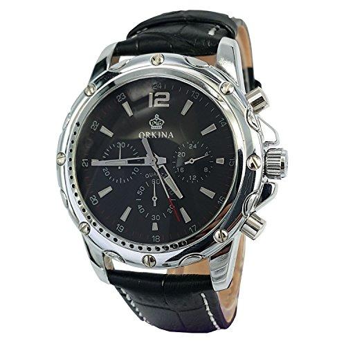 Herren-Armbanduhr mit Chronograph-Zifferblatt, japanisches Quarzuhrwerk, Lederarmband, silberfarben