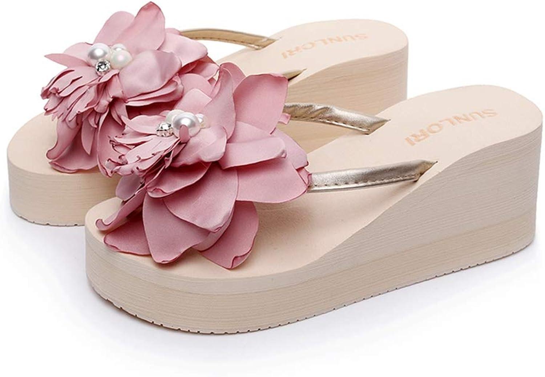 T-JULY Women Flowers Wedges Flip Flops Sweet Flower Room Slippers Female Sandals Platform shoes Beach Slippers