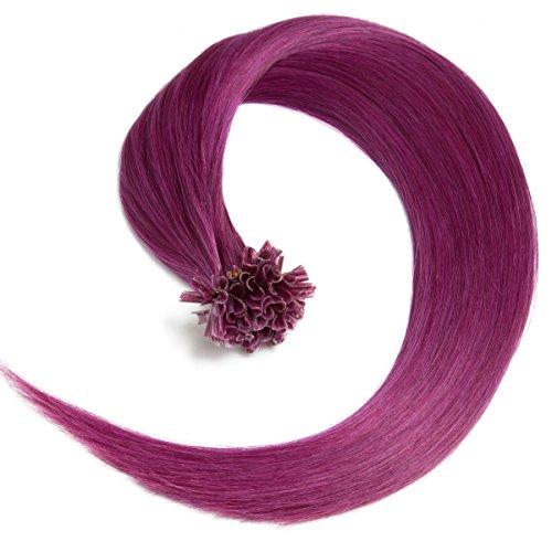 Violette Bonding Extensions aus 100% Remy Echthaar - 25 x 0,5g 45cm Glatte Strähnen - Lange Haare mit Keratin Bondings U-Tip als Haarverlängerung und Haarverdichtung in der Farbe violet