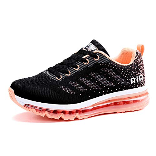 smarten Sportschuhe Herren Damen Laufschuhe Unisex Turnschuhe Air Atmungsaktiv Running Schuhe mit Luftpolster Black Pink 38 EU