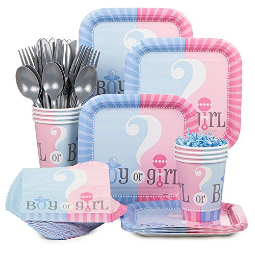 Baby Gender Reveal Partyware Kit, Blue & Pink, Includes 20 Plates, 24...