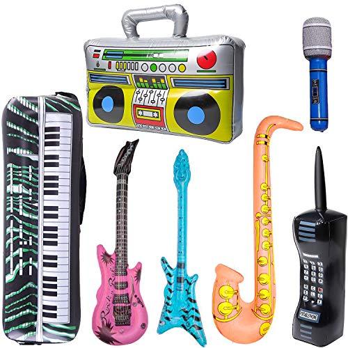 YoMaris Juego de Juguetes inflables Rock Star, 7 Pack Inflatable Boom Box Accesorios para Fiestas de bajo de Guitarra para teléfono móvil para Decoraciones de Fiesta de los 80 y 90