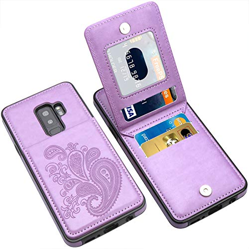 LakiBeibi for Samsung Galaxy S9 Plus Case, Flower Series Slim PU Leather Samsung S9 Plus Case Wallet with Card Holders for Girls Women Flip Phone Case for Samsung Galaxy S9 Plus, Purple