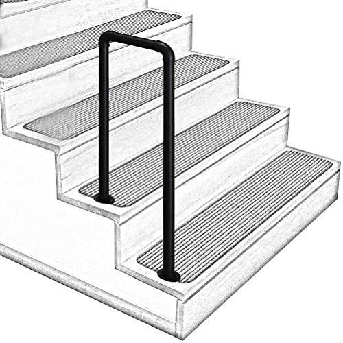 DJSMfs Treppengeländer für Treppen, U-förmig, schmiedeeiserne Geländerschiene, Industrie-Mattschwarz, rutschfeste Pfeife für ältere Loft-Flur, Sicherheitsunterstützung, 4steps