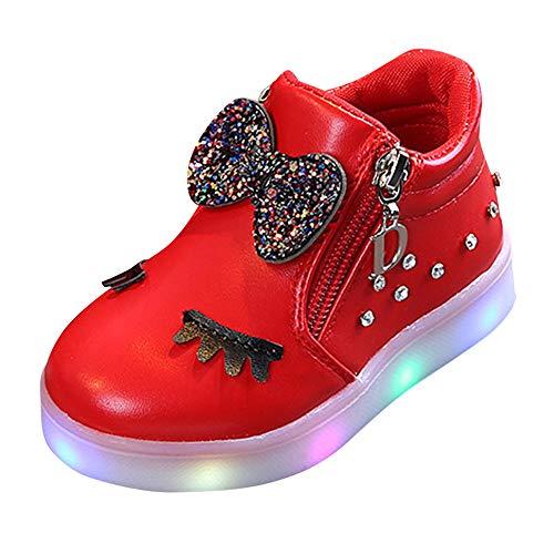 SUCES Kinder Kristall Bowknot LED Leucht Stiefel Baby Sportschuhe Herbst Winter Süß Schön Babyschuhe Reißverschluss Mädchen Schuhe Beiläufige Fleece Schneestiefel (rot,24)