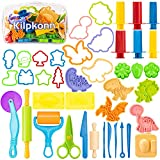 Juego de herramientas de masa, 42 piezas de accesorios de masa de juego, moldes, forma, tijeras, rodillo con bolsa de almacenamiento, juego de masa para niños pequeños y niñas