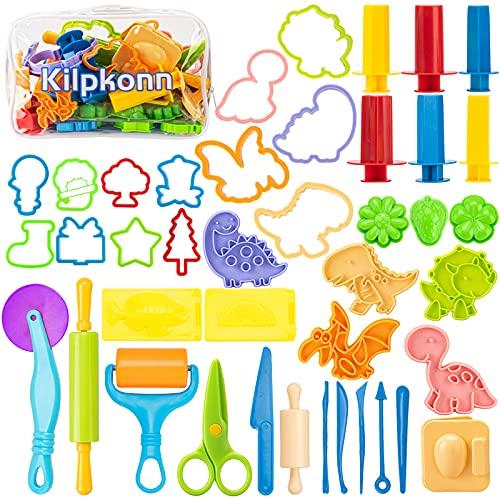 Juego de herramientas de masa, 42 piezas de accesorios de masa de juego, moldes, forma, tijeras, rodillo con bolsa de...