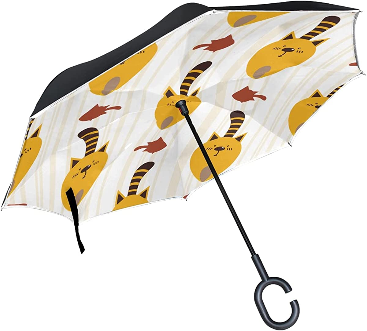 Inverted Umbrella Pattern Cartoon 2021 new Cats Funny Free shipping on posting reviews Windproof