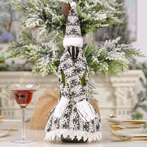 Jamicy (TM) Weihnachten Schneemann Santa Weinflasche Dekoration Xmas Dekoration Strickschal mit Kapuze Rock Flasche Set...
