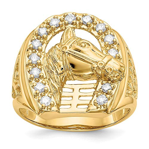 Anillo de oro amarillo de 14 quilates con diamante cultivado en laboratorio SI1/SI2, herradura G-H con caballo para hombre