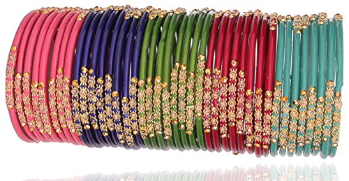 Nmii Multicolor Glossy Glass Studded With Zircon & Beads Ban
