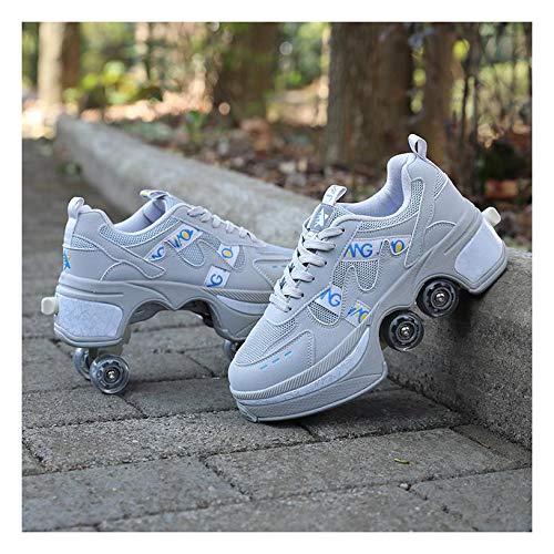 ZXSZX Unisex Kids Fashion Rollschuhe Multifunktion 2 In 1 Automatisch Versenkbare Rollschuhe Jungen Mädchen Trainingsschuhe Outdoor Sport Sneakers,EU35/UK2