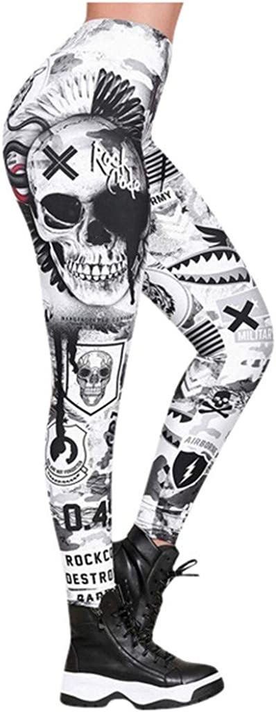 Dunacifa High Waisted Leggings for Women Anti Cellulite Skull Print Yoga Pants Stretch Workout Running Trousers