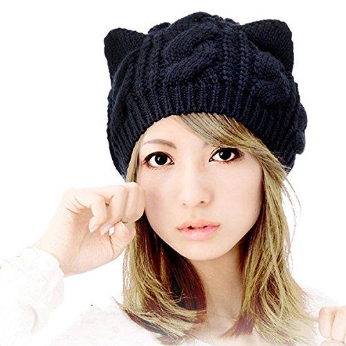 Tuopuda® Katze Ohren geformt Damen Mädchen häkeln Stricken Ski Hut Warm Beanie Wollmütze Wintermütze Strickmütze (Schwarz Katze Ohren)