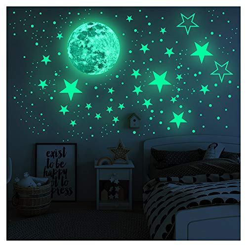 Pegatinas de pared brillantes en la oscuridad, estrellas y luna llena para cielo estrellado, decoración brillante para niñas y niños
