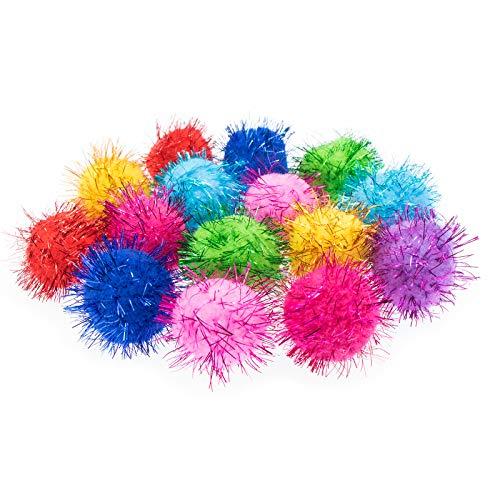 VAPKER 30 Piece 1.5' Assorted Color Sparkle Balls Cat's Favorite Toy Tinsel Pom Poms Glitter