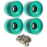 TGM Skateboards Longboard Cruiser Wheels 65mm x 51.5mm 83A 341C Green Clear ABEC...