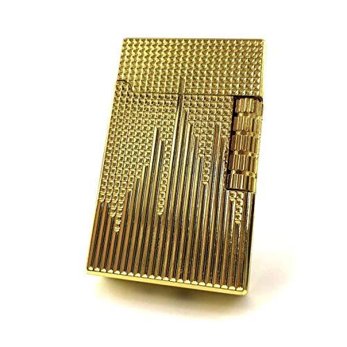 【C56】Chequered/チェカード フリントガスライター ゴールド/金 DELOOVAブランド・保障カート付 高級感のあるライン 横回し式