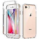 OWKEY iPhone SE 2020 Hülle, iPhone 8 Hülle, iPhone 7 Hülle, iPhone 6S Hülle, 360° R&umschutz Transparent Silikon Handyhülle Mit Eingebautem Bildschirmschutz, Stoßfest Robust Bumper Schutzhülle- klar
