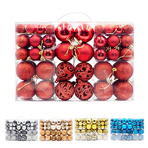 Poshlr Christmas Ball Ornaments Kits for Tree, Garland, Yard and Party Decorations, Shatterproof and Large Sets, Best Gift Ideas, 100 pcs in 4 Types (Red)