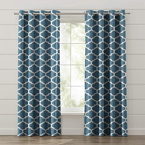 FBTS Basic Window Curtain 2 Panels 50% Blackout 52x102 Inch Dusty Blue Color Window Drapes with Grommet Top for Living Room Bed Room or Office