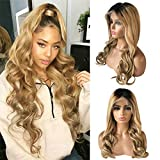 Ombre Lace Front Wigs Brazilian Remy Brown Honey Blonde Deep Parting 13×6 Frontal Lace Wig 22inch 2 Tones 1B/27# Colored Lace Front Body Wave Human Hair Wigs Pre Plucked Baby Hair 150% Density