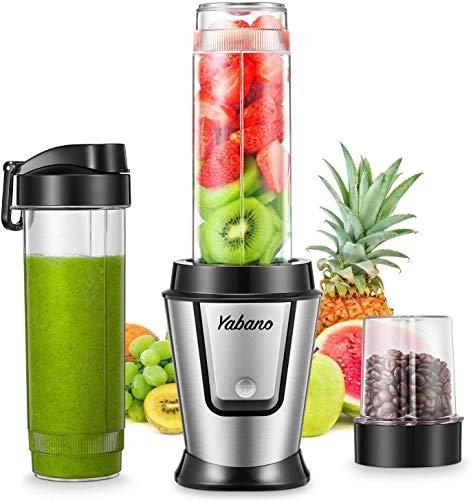 Yabano Smoothie Maker, 500W Mixer Smoothie Maker mit 2x 600ml Tritan-Kunststoff Flaschen, Mini Mixer Blender für Shakes und Smoothie, Eis, Getränk von Obst und Gemüse, 4 Edelstahlklingen, BPA frei