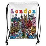 Fevthmii Drawstring Backpacks Bags,London, Cartoon Style Vector Illustration of Cityscape with Several Landmarks, Soft Satin,5 Liter Capacity,Adjustable String Closure,T