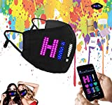 RIDE-O-DIE Programmable LED Face Cover, Adjustable Custom Sign USB Rechargeable Light Up Facial Protector with Lighting Matrix for Festivals, Raves, Parties, Concerts, Halloween Costumes