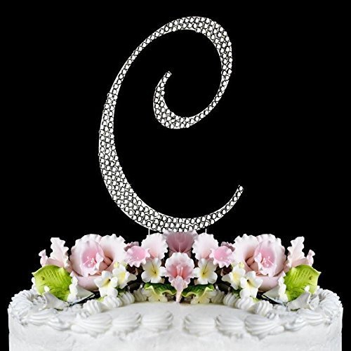 Rhinestone Cake Topper Letter C
