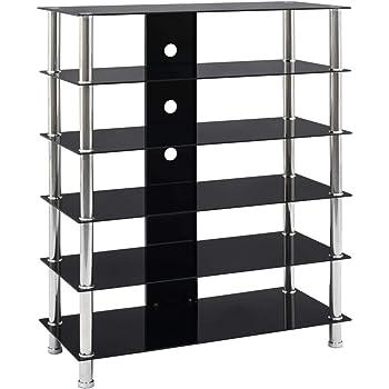 UnfadeMemory Mueble para Equipo HiFi para Salón Dormitorio,Estilo Moderno, con 5 Estantes,Vidrio Templado,90x40x113cm (Negro): Amazon.es: Hogar