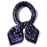 100% Real Mulberry Silk Scarf -21'' x 21''- Lightweight Neckerchief –Women Men Small Square Digital Printed Scarves (Navy&Pink Star)