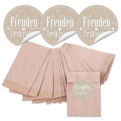 24 bruine mini-papieren zakjes 6,3 x 9,3 cm + 24 ronde stickers Vrienden in pastelkleuren beige lichtbruin crème-kleuren 13466 4 cm, voor papieren zakdoeken Tempo