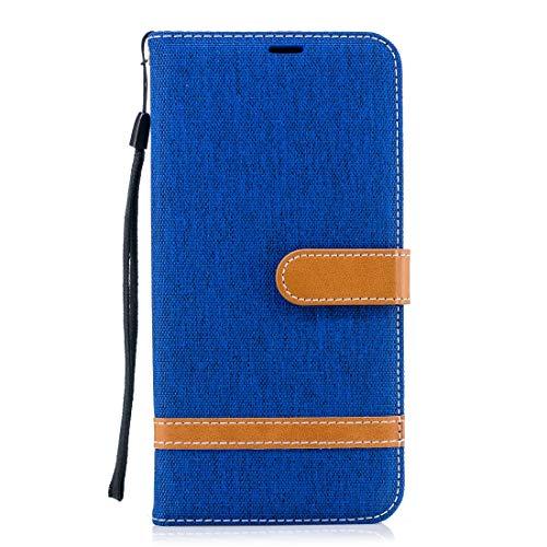 HH-Phone Case Funda de piel a juego con textura de mezclilla para Galaxy A8+, con soporte y ranuras para tarjetas, cartera y cordón (negro) hangma (color azul real)