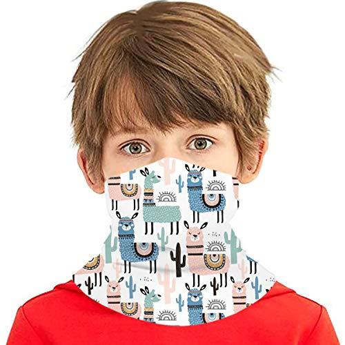 Llama Cactus Kids Face Mask Bandanas Neck Gaiter Balaclava Headband UV Sun Protection Scarf for Boys Girls Outdoor Sports