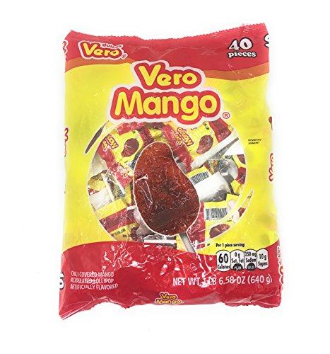 Dulces Vero Vero Mango Paletas Sabor Fresa Con Chile Mexican Hard Candy Chili Pops 40 Pc by Dulces Vero